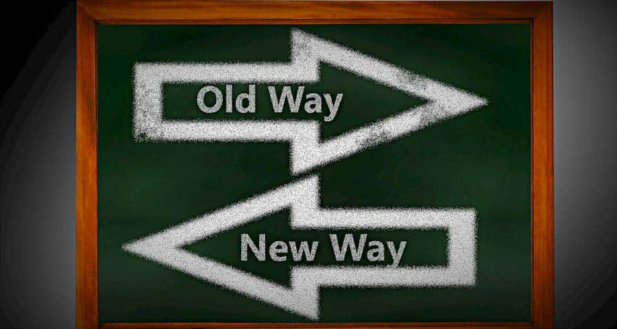 Old way and new way sign