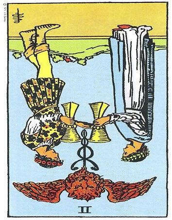 2 of cups reversed, Two of cups reversed