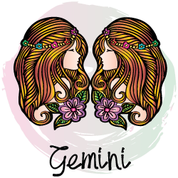 Virgo man with Gemini woman: two women looking at each other above the word Gemini