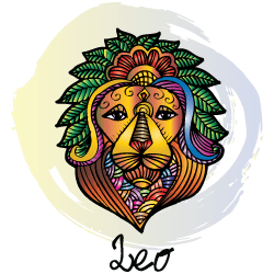 Virgo man with Leo woman : face of a lion above the word Leo