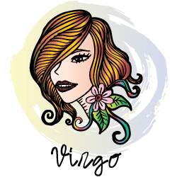 Virgo man with Leo woman : face of a woman above the word Virgo