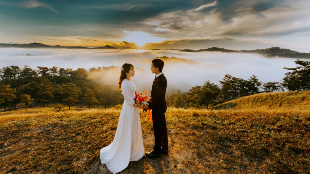 Capricorn-Man-and-Sagittarius-Woman: Couple standing outdoors after marriage