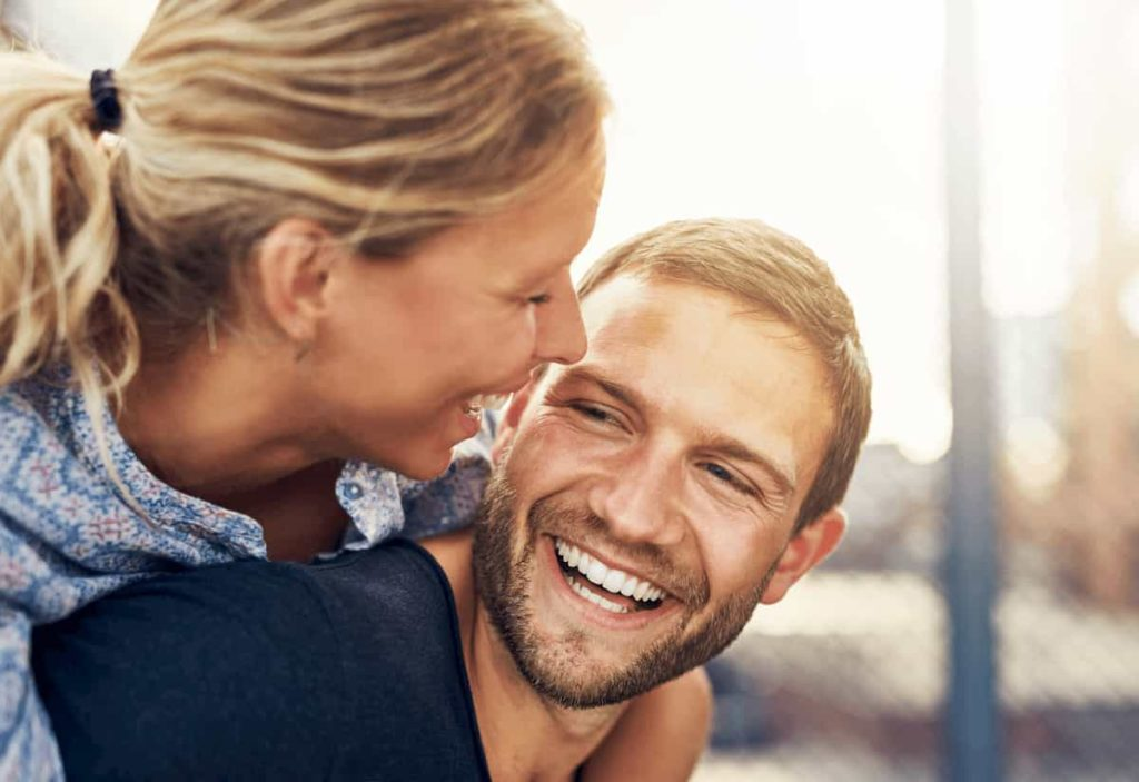 loving couple laughing together