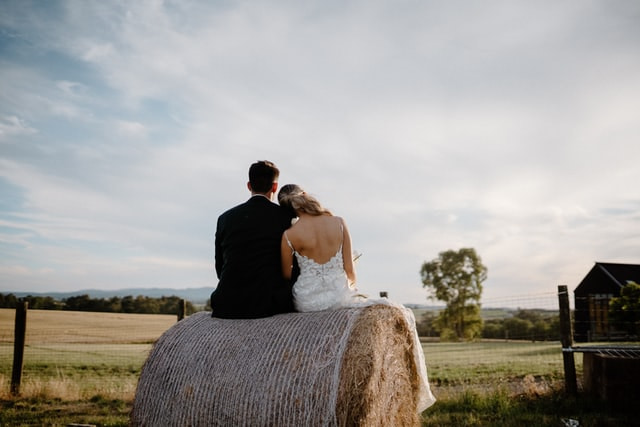 couple getting married in a village