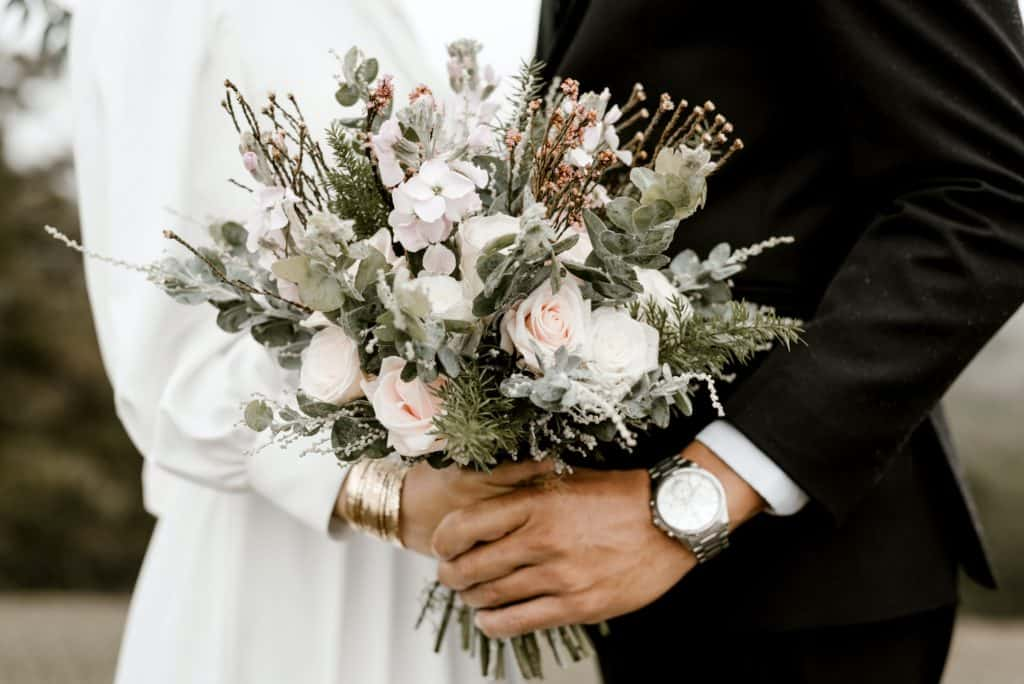 Virgo-Man-and-Taurus-Woman:: couple standing together after getting married