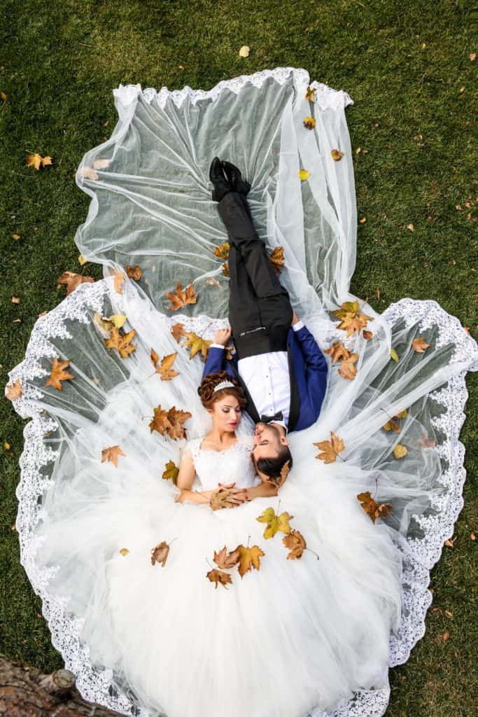 Virgo-man-and-Virgo-woman: couple lying on the ground after getting married